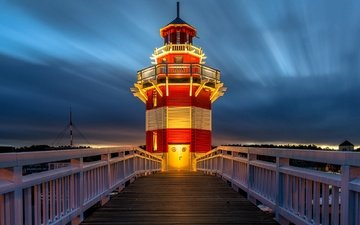 the sky, lighthouse, bridge, germany, rheinsberg lighthouse, rheinsberg