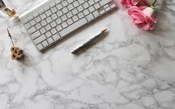 handle, roses, minimalism, keyboard, marble, flowers, pink
