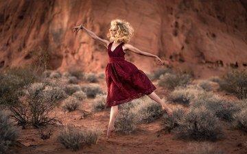 девушка, настроение, платье, танец
