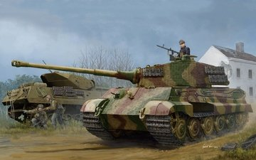 art, tiger ii, german tank, w_zimmerit, pz.kpfw.vi ausf.b, (1944 henschel production), (sd.kfz.182)