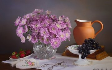flowers, style, background, grapes, strawberry, berries, pink, vase, napkin, pitcher, chrysanthemum, scissors, still life
