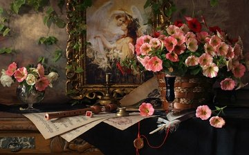 flowers, style, picture, notes, pen, still life, petunias, the flute