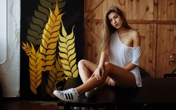 girl, pose, look, shoulder, sneakers, long hair