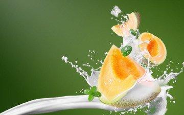 background, squirt, splash, milk, melon