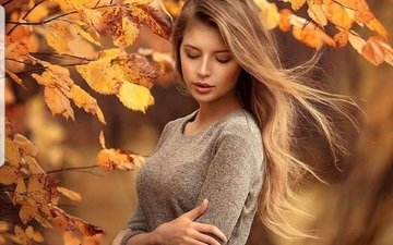 leaves, girl, branches, autumn, hair