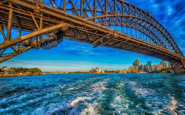 the sky, the sun, shore, bridge, bay, home, sydney, australia
