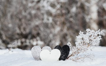 snow, winter, heart, love, romantic, valentine