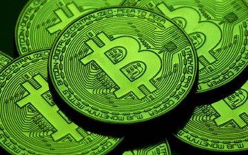 зелёный, монеты, btc, биткоин