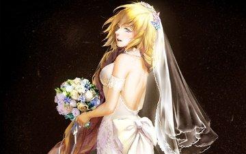 butterfly, anime, purple eyes, bouquet, bride, bare back, long hair, face, blonde, wedding dress, artwork, flower, digital art, bare shoulders, girl, anime girl