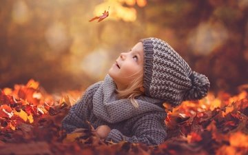 leaves, mood, foliage, autumn, girl, hat, leaf, bokeh