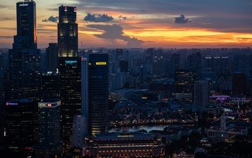 the sky, clouds, lights, the evening, sunset, the city, skyscrapers, china, building, twilight, singapore, the urban landscape, the hotel fullerton