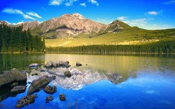 озеро, горы, лес