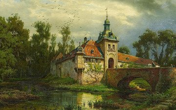 german painter, german landscape painter, oil on canvas, one thousand eight hundred seventy one, august levin von villa, wasserschloss mit heimkehrendem reiter, august von villa, august von wille, the return on horseback, castle with a moat and returning