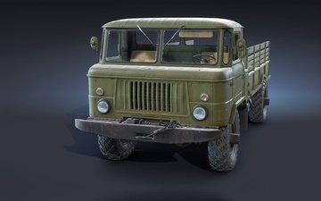 background, machine, truck, freelance, gaz-66, flatbed, ryzhkov