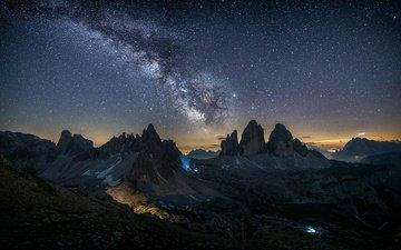небо, свет, ночь, горы, природа, италия, млечный путь, доломиты