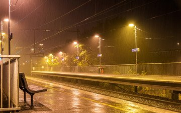 night, lights, railroad, rails, wire, benches, rain, australia, the platform, melbourne