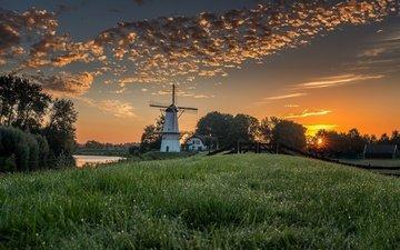 облака, вечер, пейзаж, мельница