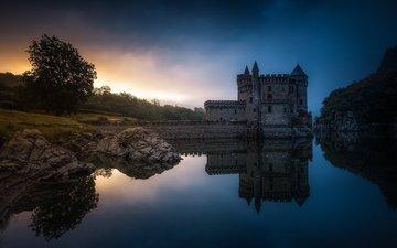 вода, вечер, отражение, замок, франция, chateau de la roche