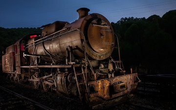 night, railroad, old, the engine