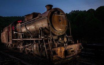 ночь, железная дорога, старый, паровоз