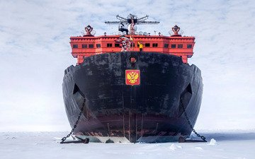 """snow, sea, ice, coat of arms, the ocean, russia, the ship, nuclear-powered icebreaker, 50 years of victory, icebreaker, tank, atomflot, arktika-class, """"50 years of victory"""""""