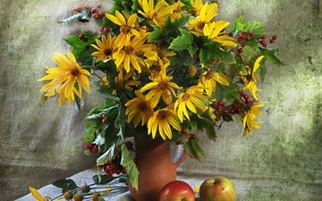 flowers, bouquet, still life, rudbeckia