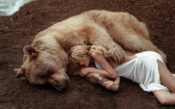 девушка, поза, лапы, медведь