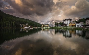 lake, mountains, nature, reflection, landscape, morning, dawn, village, italy, resort, the dolomites, misurina