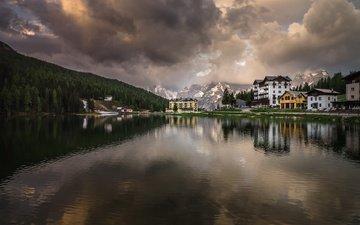 озеро, горы, природа, отражение, пейзаж, утро, рассвет, деревня, италия, курорт, доломиты, мизурина