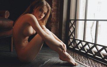 девушка, поза, взгляд, сидит, грудь, окно