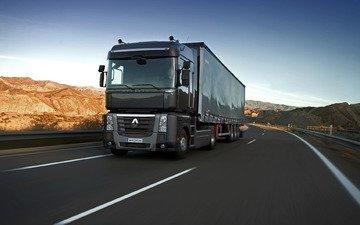 небо, холмы, черный, трасса, грузовик, магнум, renault, седельный тягач, 4x2, полуприцеп, renault trucks
