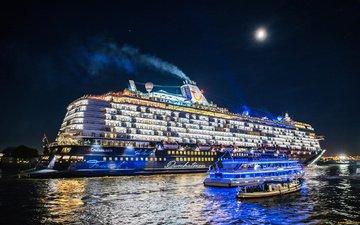 night, river, germany, liner, cruise, hamburg, ships, elbe river, the elbe river