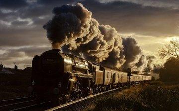 свет, железная дорога, паровоз