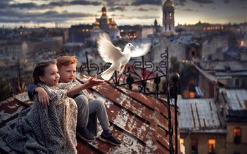 temple, the city, the world, girl, bird, church, boy, roof, dove