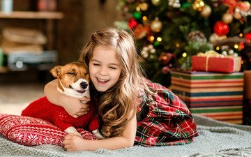 new year, tree, gifts, dog, joy, girl