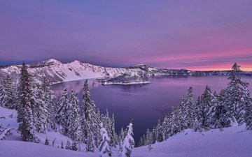 trees, lake, mountains, snow, sunset, winter, ate, oregon, crater lake national park, crater lake