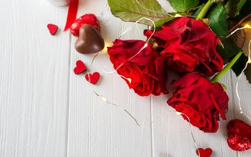 roses, candy, red, chocolate, hearts, romantic, flowers, love, valentine's day