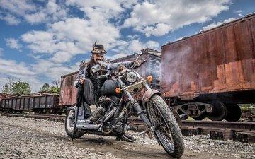 motorcycle, man, bike, cars