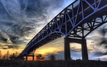 ночь, природа, пейзаж, мост