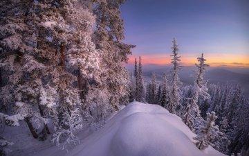 горы, снег, лес, зима, южный урал