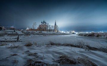 река, снег, природа, зима, пейзаж, утро, собор, рассвет, монастырь, село, дунилово