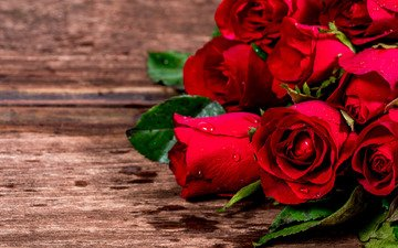 flowers, roses, red, bouquet, romantic, wood, love