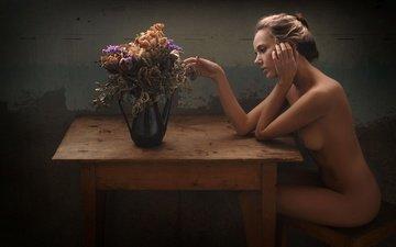 красавица, ваза, ню, блонд, mango a, манго, katya clover, gевочка, модел, flower-piece, wood table