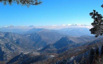горы, зима, кавказ, лаго-наки