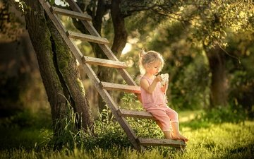 trees, nature, ladder, park, summer, garden, girl, bokeh, baby
