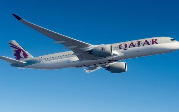 самолет, airbus, пассажирский, qatar airways, airbus a350-900, airbus a350 xwb
