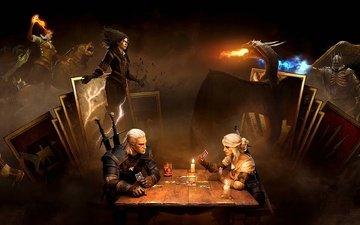 арт, фон, меч, карты, дракон, девушки, ведьмак, мечи, магия, броня, доспехи, персонажи, чародейка, дикая охота