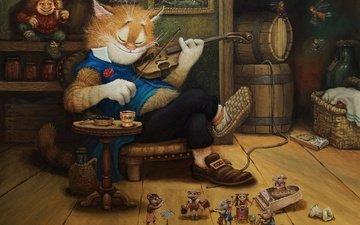 арт, рисунок, кот, скрипка, сказка, детская, сказочки кота кузьмы, вечерок