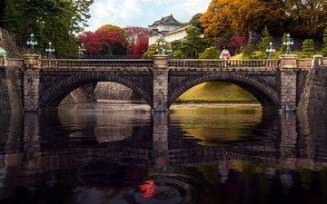 trees, lights, river, landscape, bridge, autumn, japan, the building, palace, woman, japanese, tokyo