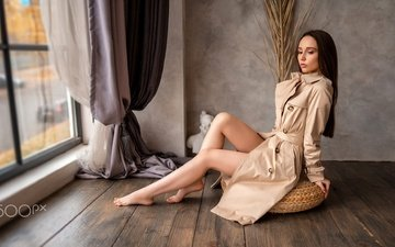 girl, curtains, pose, portrait, model, room, sitting, cloak, legs, window, makeup, hairstyle, figure, brown hair, barefoot